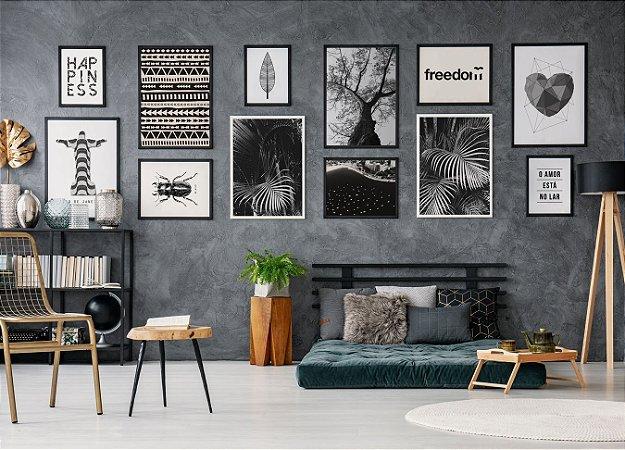 Conjunto 12 Quadros Decorativos Preto e Branco - Paredão