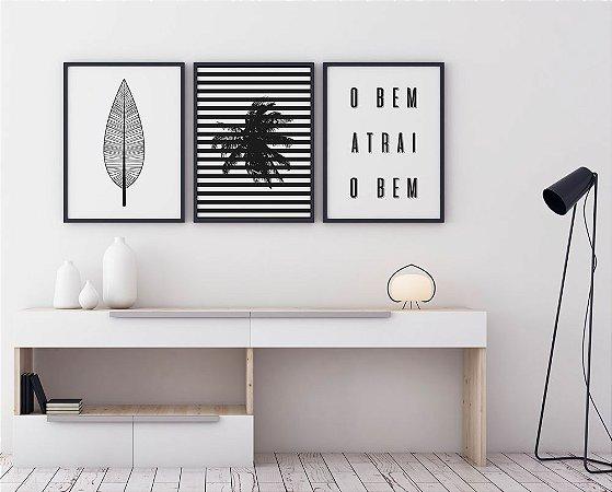 Conjunto 3 Quadros Decorativos Folha Boho, Coqueiro com Listras, O Bem Atrai o Bem - Preto e Branco, Frase, Minimalista