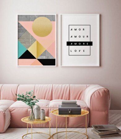 Conjunto 2 Quadros Decorativos - Arte Geométrica O Sol + Palavras Amor Idiomas
