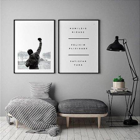 Conjunto 2 Quadros Decorativos - Filme Rocky Balboa Braço Erguido + Frase Humildignidade