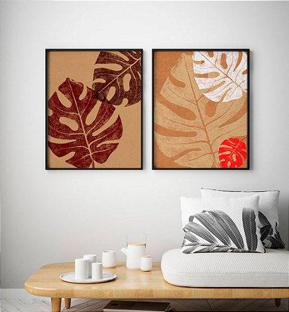 Conjunto 2 Quadros Decorativos Folhas de Outono - Costela de Adão, Natureza, Folhagem