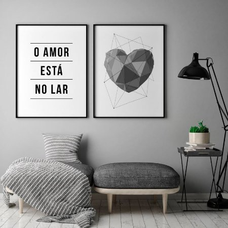 Conjunto 2 Quadros Decorativos - Frase Amor Está no Lar + Coração Cinza
