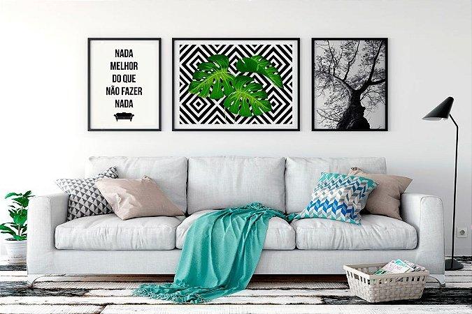 Conjunto 3 Quadros Decorativos - Frase Música Rita Lee + Costela Adão Fundo Geométrico + Foto Árvore