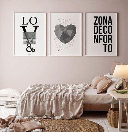 af9a0788e Conjunto 3 Quadros Decorativos Love