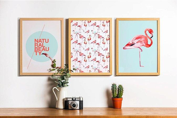 Conjunto 3 Quadros Decorativos Natural Beauty - Cores Rosas, Flamingos