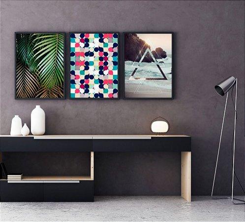 Conjunto 3 Quadros Decorativos Natureza Moderna - Folhas Palmeira, Círculos Coloridos, Praia Triângulos
