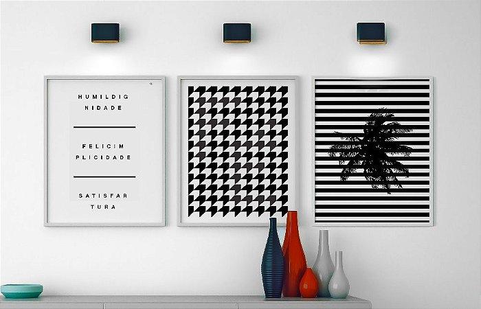 Conjunto 3 Quadros Decorativos Preto E Branco Frase Humildignidade
