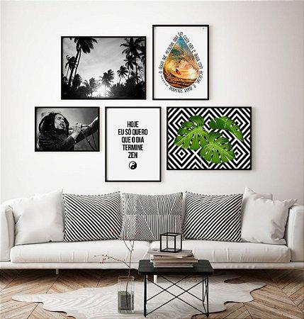 Conjunto 5 Quadros Decorativos - Bob Marley, Fotografia Coqueiros, Costela Adão, Frase, Música