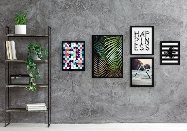 Conjunto 5 Quadros Decorativos - Frase, Folhas Palmeira, Círculos Coloridos, Coqueiro, Praia - Modern Beach