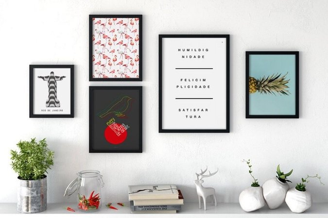 Conjunto 5 Quadros Decorativos - Frase, Música, Abacaxi, Flamingo, Rio de Janeiro - Palavras e Cores