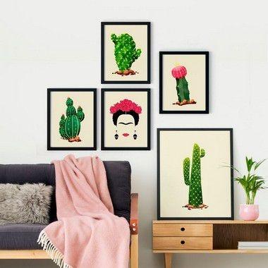Conjunto 5 Quadros Decorativos - Frida Cactus
