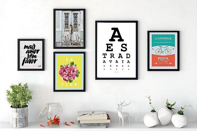 Conjunto 5 Quadros Decorativos - Mais Amor, Teste de Visão, Fotografia, Flor, Bicicleta