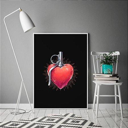 Quadro Poster Coração Love Power