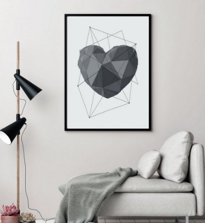 Quadro Decorativo Poster Amor Coração Geométrico Cinza - Love, 3D, Minimalista