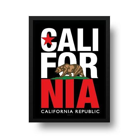 Quadro Poster Decorativo California Republic - Estrela, Urso