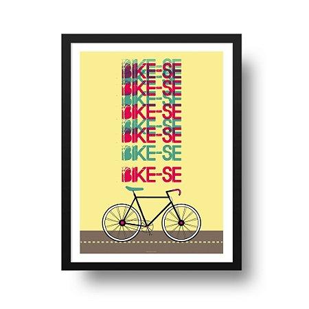 Quadro Poster Decorativo Esporte Bicicleta - Frase Bike-se, Fundo Amarelo
