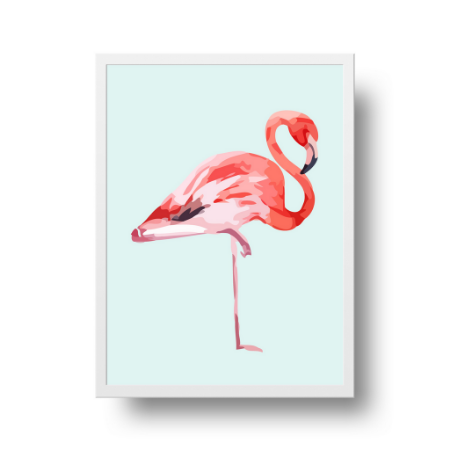 Quadro Poster Decorativo Flamingo - Rosa, Fundo Azul Claro