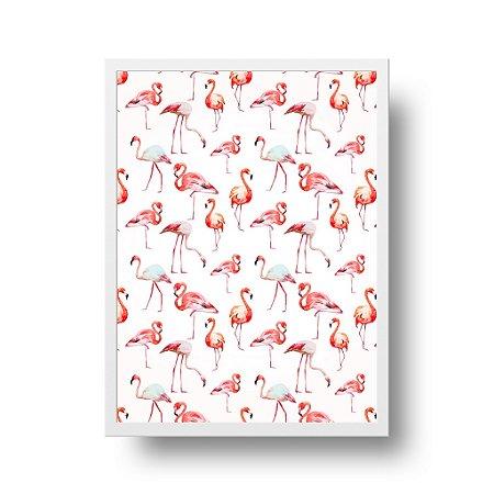 Quadro Poster Decorativo Flamingos - Padronagem, Fundo Branco