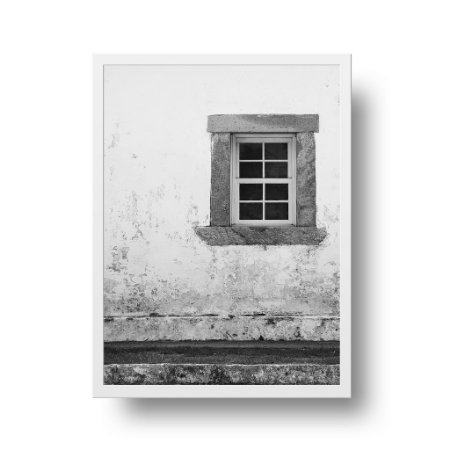 Quadro Poster Decorativo Foto Preto e Branco Janela - Fachada, Rústica, Igreja