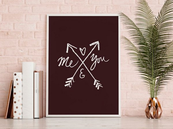 Quadro Poster Decorativo Frase Amor Me And You Flechas Preto E