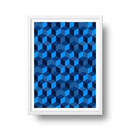 Quadro Poster Decorativo Geométrico Azul - Cubos, Blocos, 3D, Abstrato
