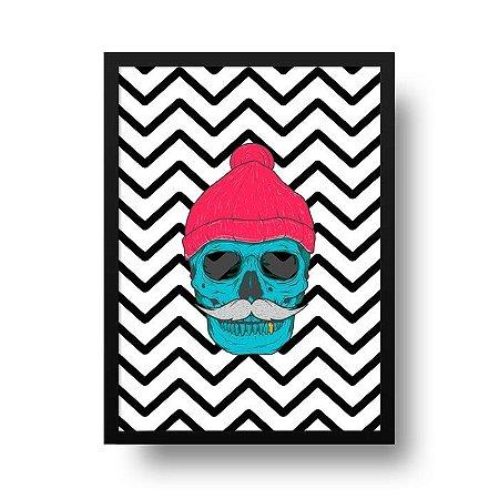 Quadro Poster Decorativo Geométrico Caveira Hipster - Chevron, Zig Zag