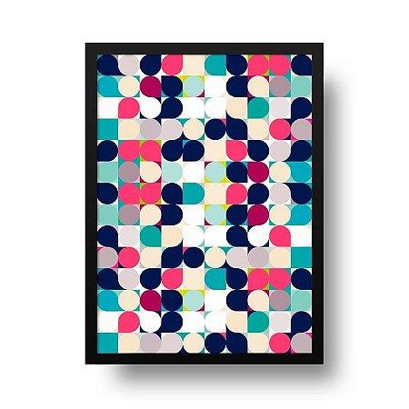 Quadro Poster Decorativo Geométrico Círculos Retrô - Abstrato, Colorido, Vintage