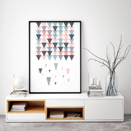 Quadro Decorativo Poster Geométrico Escandinavo - Abstrato, Chuva, Triângulos, Minimalista