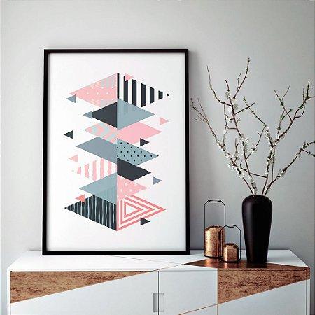 Quadro Decorativo Poster Geométrico Escandinavo - Abstrato, Triângulos, Minimalista