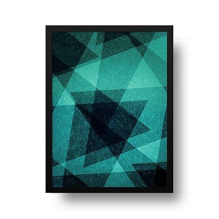 Quadro Poster Decorativo Geométrico Floresta Nebulosa - Verde, Abstrato, Triângulos