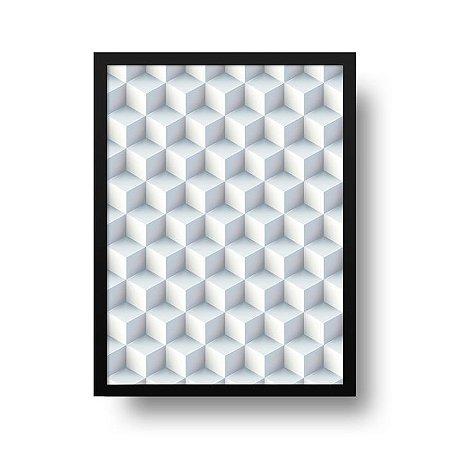 Quadro Decorativo Poster Geométrico Gelo - Cubos, Blocos, 3D, Abstrato