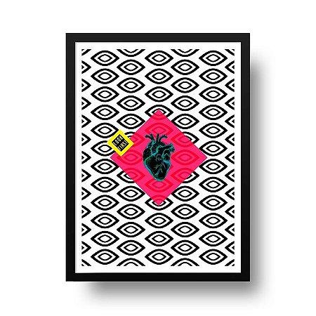 Quadro Poster Decorativo Geométrico Look First - Abstrato, Olhos, Coração