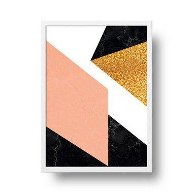 Quadro Decorativo Poster Geométrico Marble Shine - Abstrato, Triângulos, Mármore