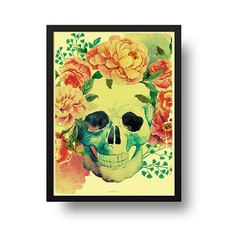Quadro Poster Decorativo Gravura Caveira Florida - Skull, Flores, Aquarela