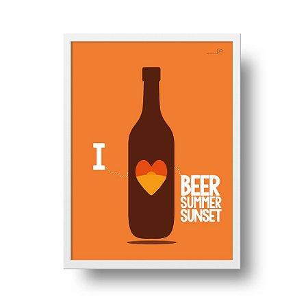 Quadro Decorativo Poster I Love Beer - Cerveja, Garrafa, Mnimalista