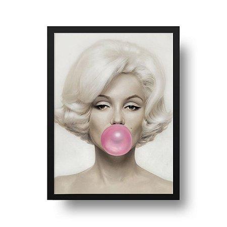 Quadro Poster Decorativo Marilyn Monroe - Bola, Chiclete, Rosa