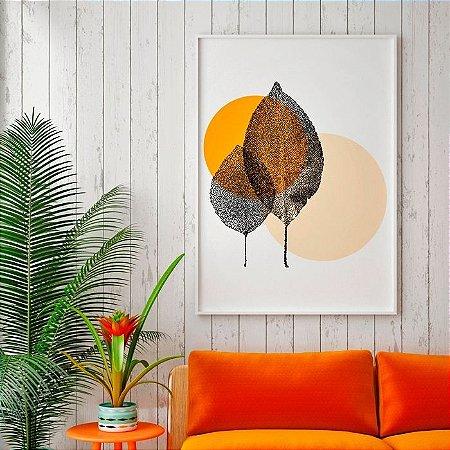 Quadro Decorativo Poster Natureza Duas Folhinhas - Minimalista, Pontilhado