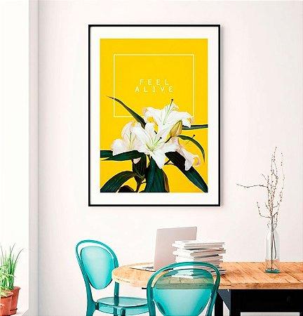 Quadro Poster Decorativo Natureza Flor Lírio - Fundo Amarelo