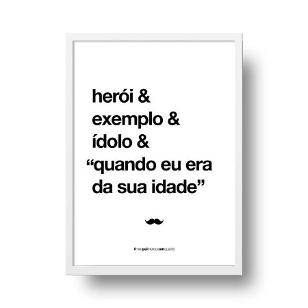 Quadro Decorativo Poster Para Pai Herói - Palavras, Homenagem, Pais