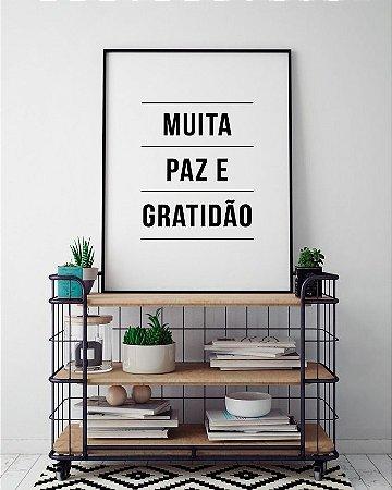 Quadro Poster Decorativo Paz e Gratidão - Frase, Motivacional, Minimalista