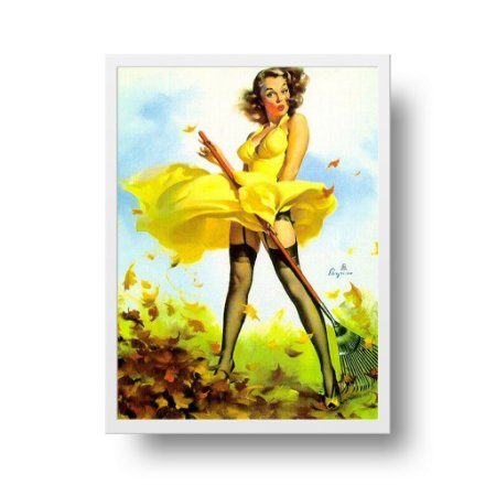 Quadro Poster Decorativo Pin Up Girl Fresh Breeze - Vintage, Retrô, Saia Voando