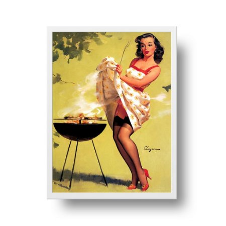 Quadro Decorativo Poster Pin Up Girl Smoke Screen - Churrasco, Vintage, Retrô