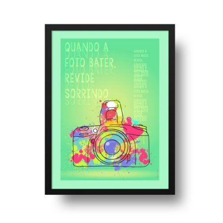 Quadro Poster Decorativo Revide Sorrindo - Frase, Câmera Fotográfica