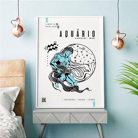 Quadro Decorativo Poster Signo Aquário Com Realidade Aumentada