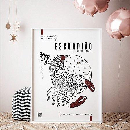 Quadro Poster Decorativo Signo Escorpião Com Realidade Aumentada