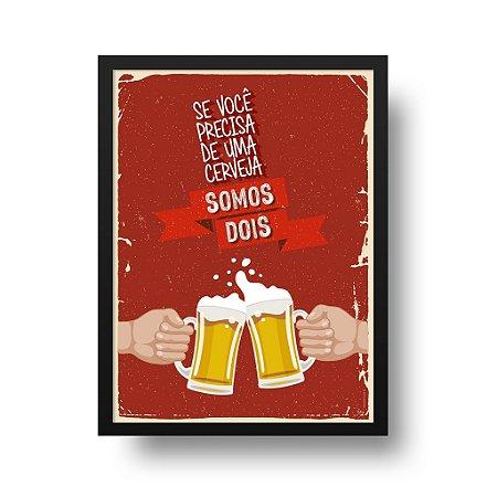 Quadro Poster Decorativo Somos Dois - Brinde, Caneco, Chope, Cerveja