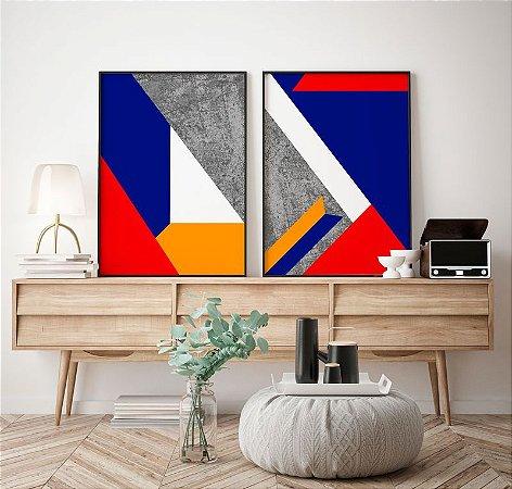 Conjunto 2 Quadros Decorativos Geométricos Vermelho, Azul, Mostarda, Cinza