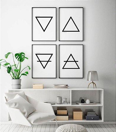 Conjunto 4 Quadros Decorativos Elementos da Terra - Água, Fogo, Terra, Ar