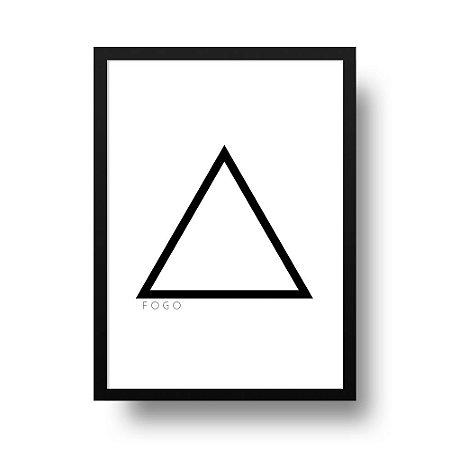 Quadro Poster Decorativo Elemento Fogo - Preto e Branco, Geométrico, Minimalista
