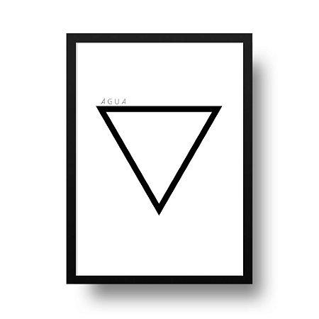 Quadro Decorativo Poster Elemento Água - Preto e Branco, Geométrico, Minimalista